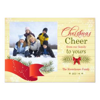 Christmas cheer pine bough holiday photo card 13 cm x 18 cm invitation card