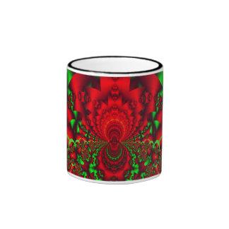 Christmas cheer, red green abstract mug