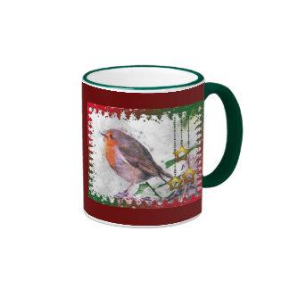 Christmas Cheer Robin Redbreast Ringer Mug