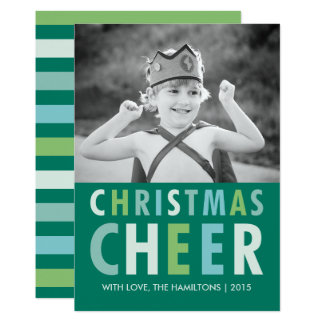 Christmas Cheer Shades of Green Holiday Photo Card 13 Cm X 18 Cm Invitation Card