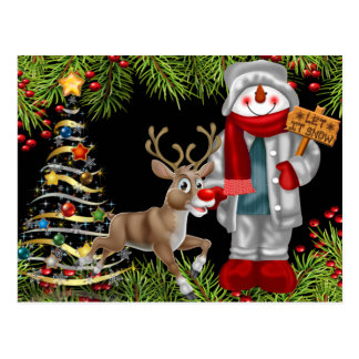 christmas cheer snowman reindeer scene postcard 2