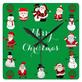 Christmas Cheer Square Wall Clock