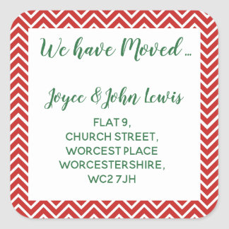 christmas Chevron Change of Address Stickers