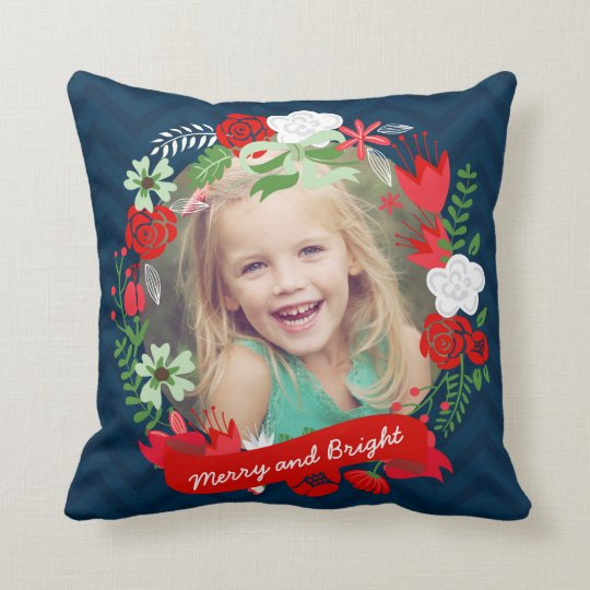 Christmas Chevron Floral Wreath Photo Personalised Cushion