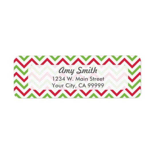 Christmas Chevron Pattern Red and Green Return Address Label