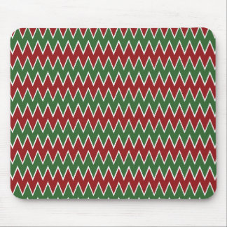 Christmas Chevron Red and Green Zigzag Pattern Mouse Pad