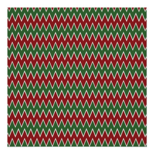 Christmas Chevron Red and Green Zigzag Pattern Posters
