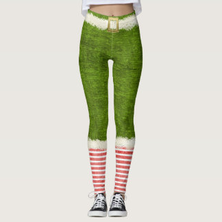 Christmas Chic Elf Costume Green Holiday Fun Leggings