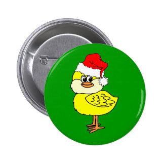 Christmas chick 6 cm round badge