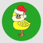 Christmas chick round sticker