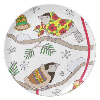 Christmas Chickadees Dinner Plate