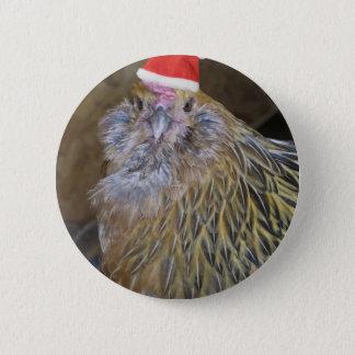 Christmas Chicken 6 Cm Round Badge