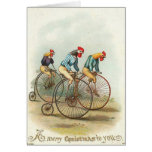 Christmas - Chickens Riding Penny-Farthings Greeting Card