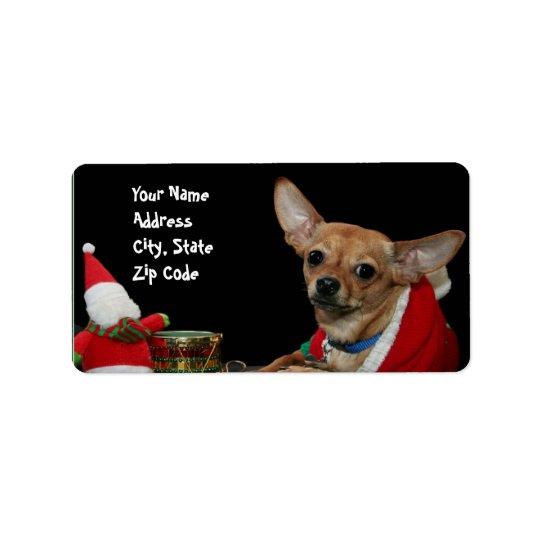 Christmas Chihuahua address labels