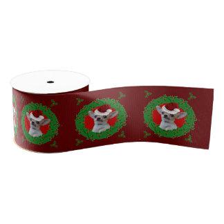 "Christmas Chihuahua dog 3"" Grosgrain ribbon"