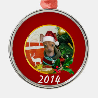 Christmas Chihuahua dog Silver-Colored Round Decoration
