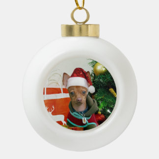 Christmas Chihuahua dog Ceramic Ball Christmas Ornament