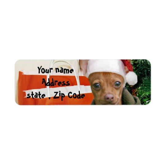 Christmas chihuahua dog return address label