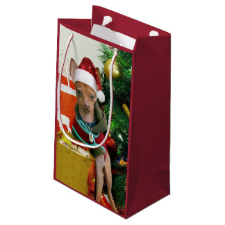 Christmas Chihuahua dog Small Gift Bag