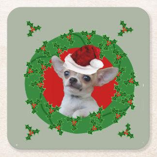 Christmas Chihuahua dog Square Paper Coaster