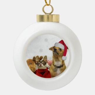 Christmas Chihuahua Dogs Ceramic Ball Decoration