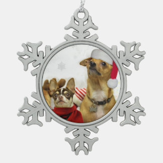 Christmas Chihuahua Dogs Pewter Snowflake Decoration