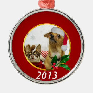 Christmas Chihuahua Dogs Silver-Colored Round Decoration