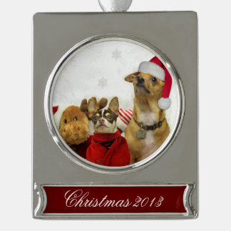 Christmas Chihuahua Dogs Silver Plated Banner Ornament