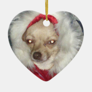 Christmas Chihuahua Heart Ornament