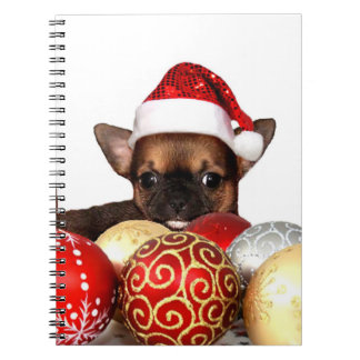 Christmas chihuahua puppy spiral notebook