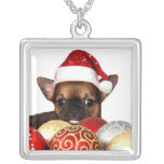 Christmas chihuahua puppy square pendant necklace