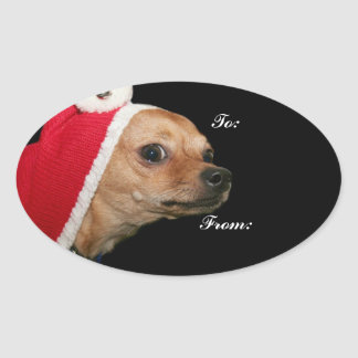 Christmas Chihuahua Oval Stickers