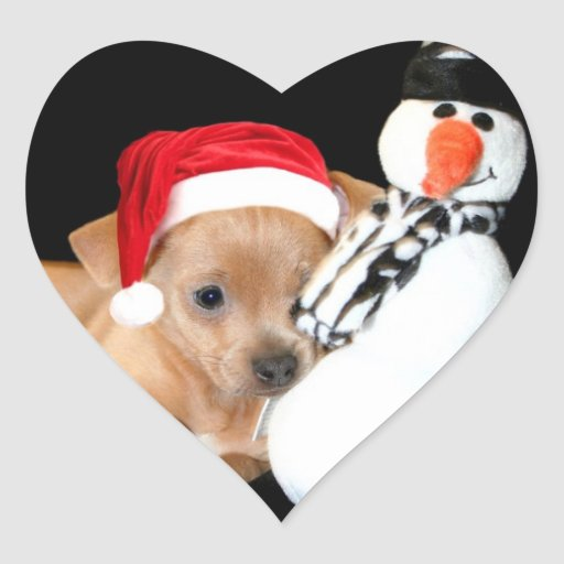 Christmas Chihuahua Heart Stickers