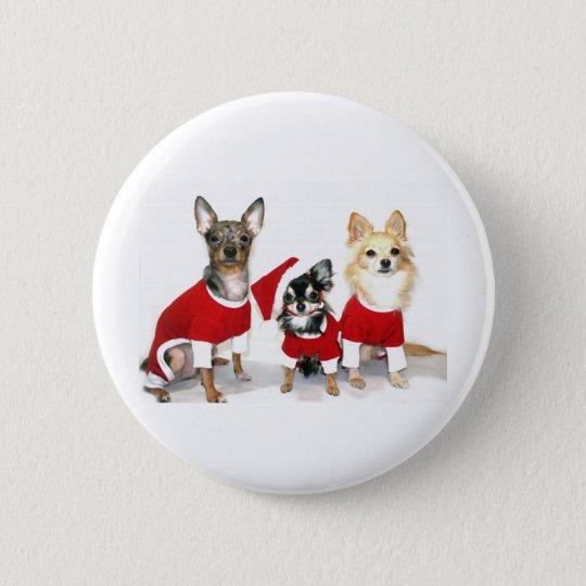 Christmas Chihuahuas 6 Cm Round Badge