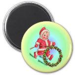 CHRISTMAS CHILD & HOLLY by SHARON SHARPE Fridge Magnet