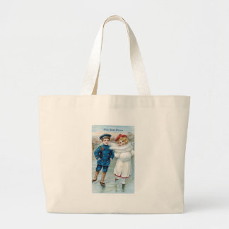 Christmas Children ice skating Canvas Bags