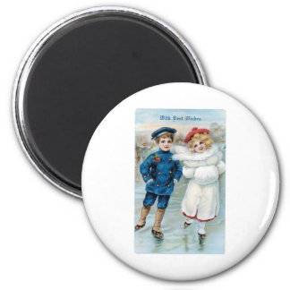 Christmas, Children ice skating Refrigerator Magnets