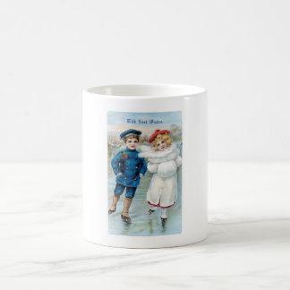 Christmas, Children ice skating Coffee Mug
