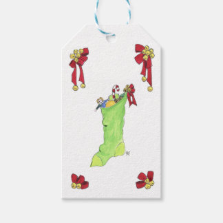 Christmas chimney stocking illustrated gift tags. gift tags