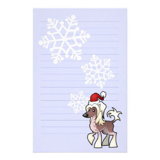 Christmas Chinese Crested (hairless) Stationery