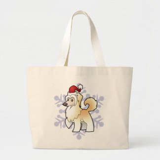Christmas Chinese Crested (powderpuff) Large Tote Bag