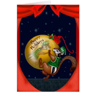 CHRISTMAS CHIPMUNK CARTOON Greeting Card