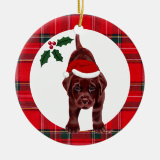 Christmas Chocolate Lab Puppy Christmas Ornament