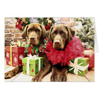 Christmas - Chocolate Labrador - Hershey & Zena Greeting Card