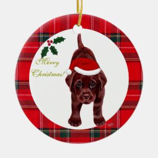 Christmas Chocolate Labrador Puppy Santa Hat Christmas Ornament