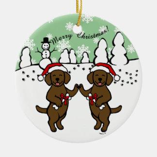 Christmas Chocolate Labradors Cartoon Round Ceramic Decoration