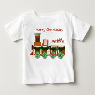 Christmas Choo Choo Train with Striped Candy Baby T-Shirt