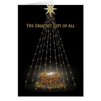 CHRISTMAS - CHRISTIAN - MANGER/STARS CARD