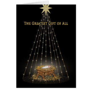 CHRISTMAS - CHRISTIAN - MANGER/STARS GREETING CARD