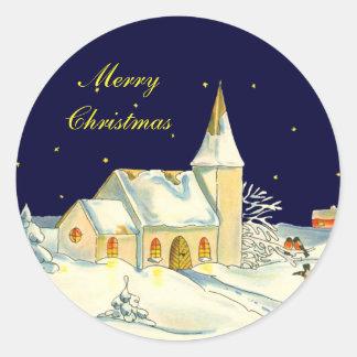 Christmas church winter scene classic round sticker